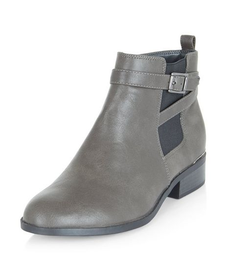 Teens Grey Leather-Look Chelsea Boots | New Look