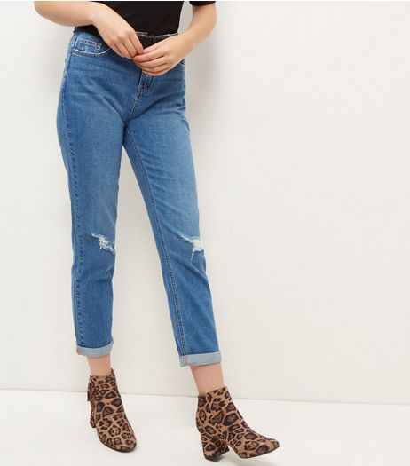 Blue Ripped Knee Straight Leg Jeans  | New Look