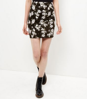Black Floral Print Tube Skirt