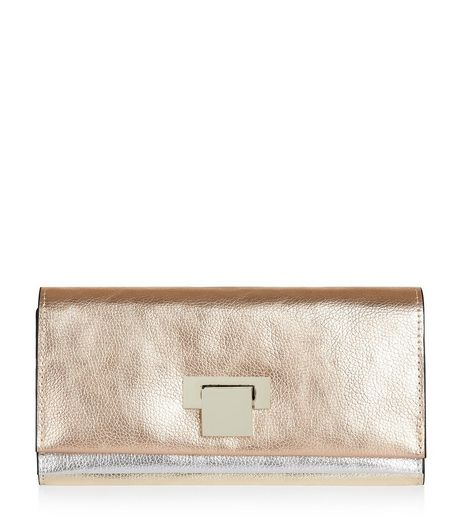 Rose Gold Metallic Fold Over Purse | New Look