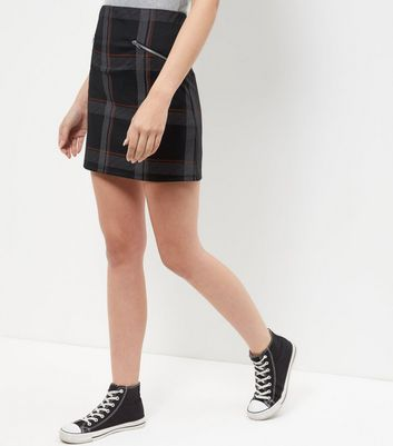 Grey Check Zip Pocket A-Line Skirt