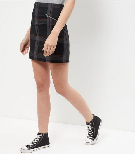 Grey Check Zip Pocket A-Line Skirt | New Look