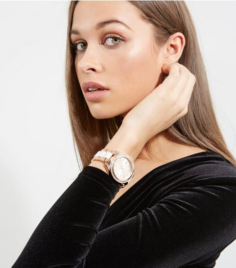 Rose Gold Diamanté Dail Sports Watch | New Look