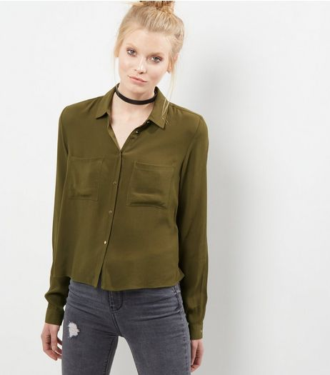Khaki Button Front Long Sleeve Shirt  | New Look