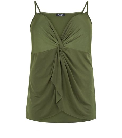 Curves Khaki Knot Front Cami | New Look