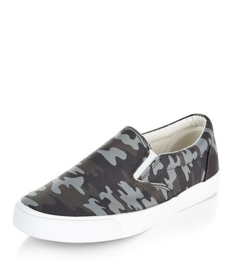 Teens Khaki Camo Print Slip On Plimsolls | New Look