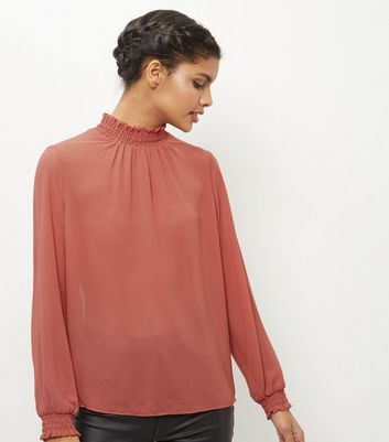 Mid Pink Funnel Neck Shirred Chiffon Top