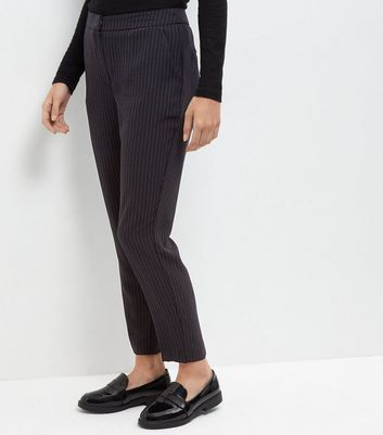 Navy Pinstripe Slim Leg Trousers