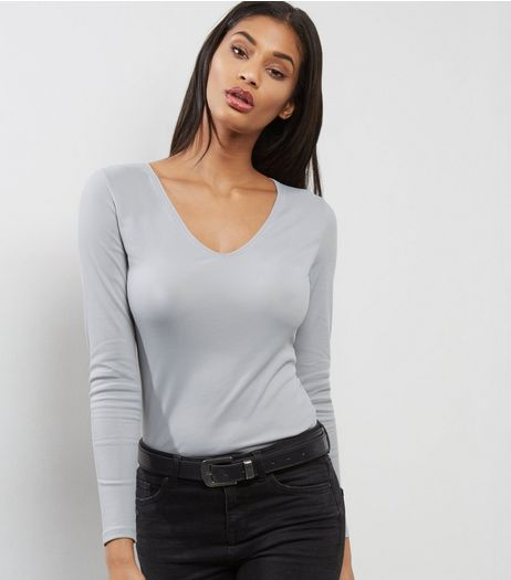 Grey Ribbed V Neck Top  | New Look