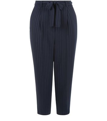 Petite Blue Pinstripe Belted Trousers