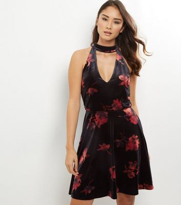 Tall Black Floral Print Velvet Skater Dress