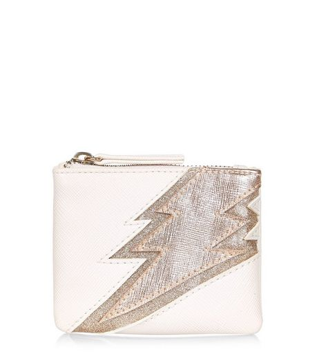 Cream Lightning Bolt Zip Top Purse | New Look