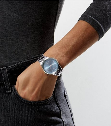 Silver Metallic Dial Sports Watch | New Look