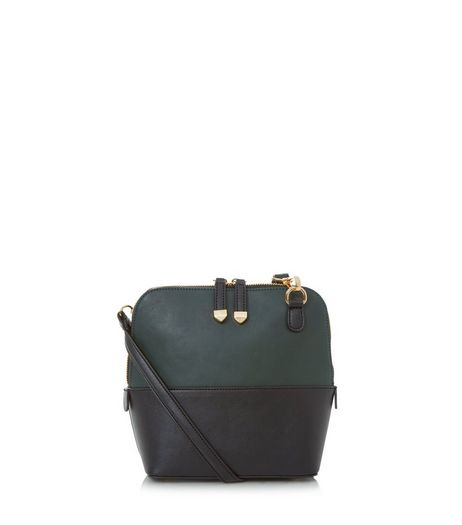Dark Green Colour Block Across Body Bag | New Look