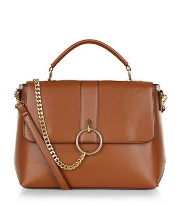 Tan Leather-Look Chain Satchel
