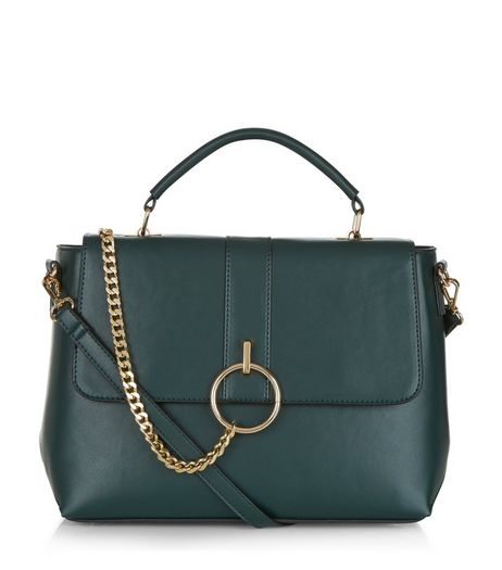 Dark Green Chain Satchel Bag | New Look