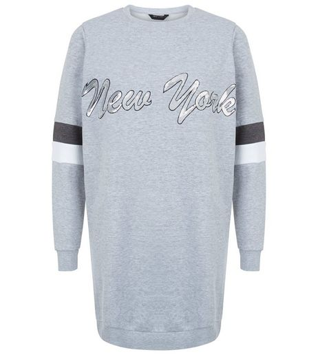 Teens Grey New York Print Sequin Sweater Dress  | New Look