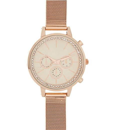 Rose Gold Diamanté Dial Mesh Strap Watch | New Look