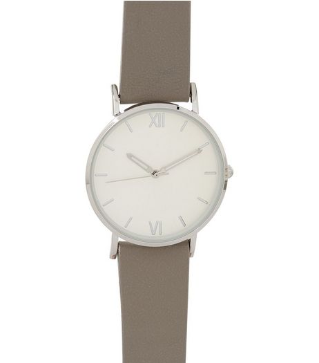 Grey Leather Look Strap Watch | New Look