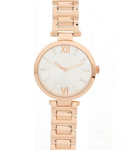Rose Gold Diamanté Dial Sports Watch | New Look