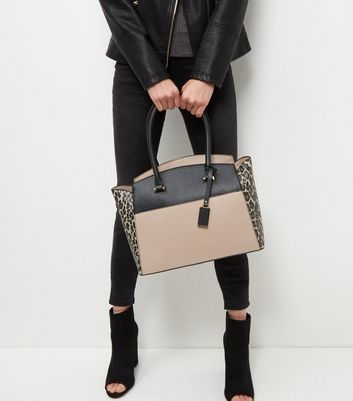 Brown Leopard Print Colour Block Tote Bag