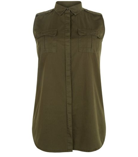 Curves Khaki Sleeveless Military Shirt | New Look