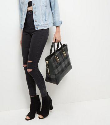 Black Check Panel Tote Bag