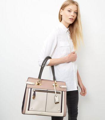 Mink Colour Block Zip Front Tote Bag