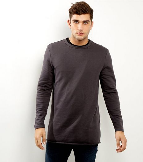 Grey Longline Rolled Hem Sweater | New Look