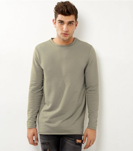 Khaki Longline Rolled Hem Sweater | New Look
