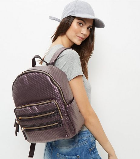 Purple Quilted Backpack | New Look