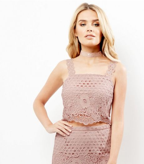 Shell Pink Premium Lace Cut Out Crop Top  | New Look