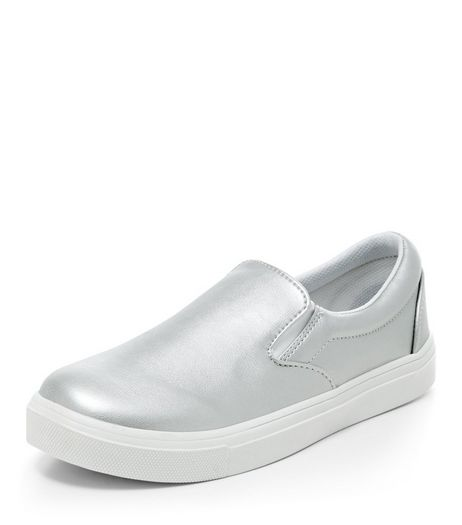 Teens Silver Patent Slip On Plimsolls | New Look