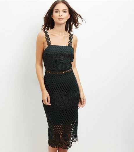 Dark Green Premium Lace Sleeveless Bodycon Dress | New Look