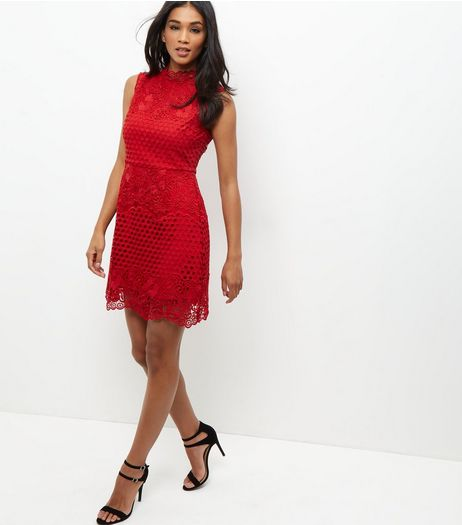 Red Premium Lace Funnel Neck Sleeveless Dress  | New Look
