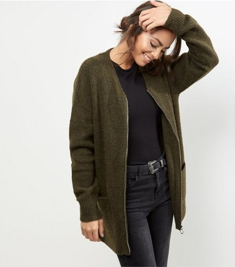 Tall Khaki Ribbed Cardigan | New Look