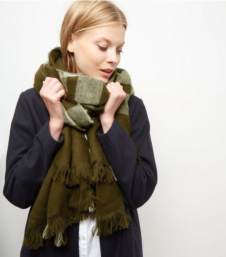 Khaki Check Scarf | New Look