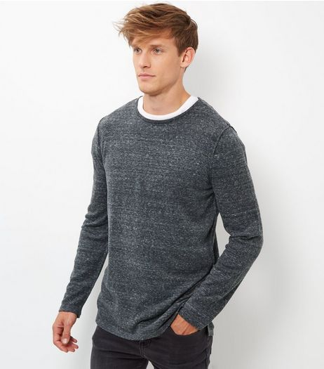 Grey Seam Trim Longline Jumper | New Look