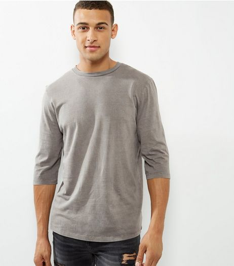 Stone 3/4 Sleeve Curve Hem T-Shirt  | New Look