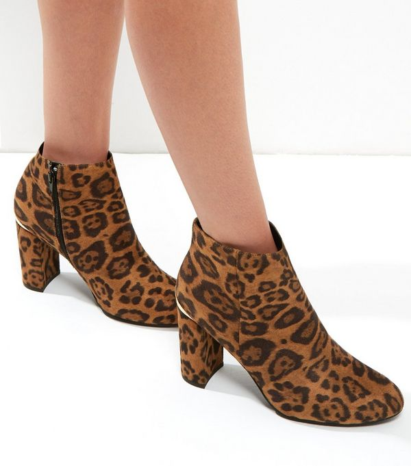 Brown Suedette Leopard Print Metal Trim Ankle Boots