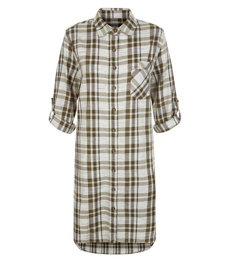 Blue Vanilla Khaki Check Longline Shirt | New Look