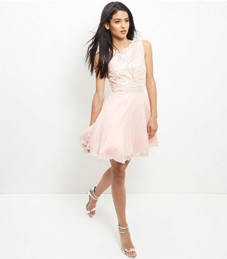 AX Paris Shell Pink Lace Skater Dress | New Look