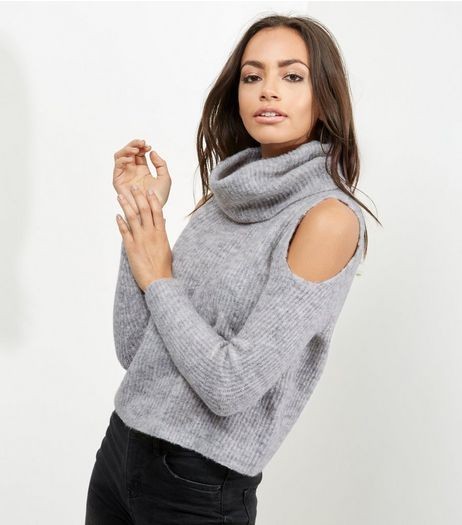 Petite Grey Ribbed Cowl Neck Cold Shoulder Jumper | New Look