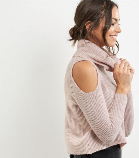 Petite Pink Ribbed Cowl Neck Cold Shoulder Jumper | New Look
