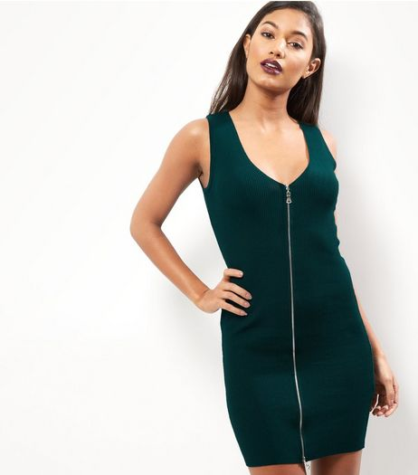 Petite Dark Green Zip Front Bodycon Dress | New Look