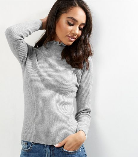Petite Pale Grey Frill Trim Funnel Neck Jumper | New Look