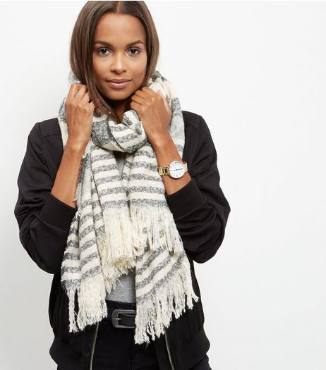 Grey Boucle Stripe Scarf | New Look
