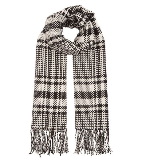 Grey Check Oversized Scarf  | New Look