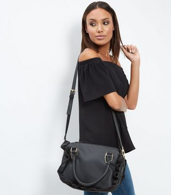 Black Frill Trim Tote Bag
