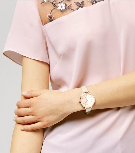 Shell Pink Textured Watch  | New Look